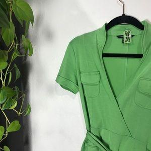 Banana Republic Silk Cotton Wrap Dress -lime green